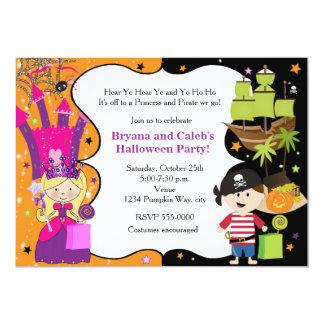 Princess And Pirate Invitations Announcements Zazzlecouk - Halloween birthday invitations uk