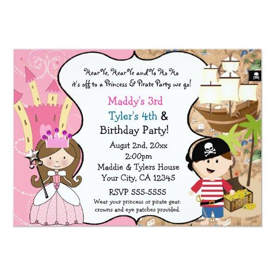 Princess & Pirate Party Invitations Brown Hair