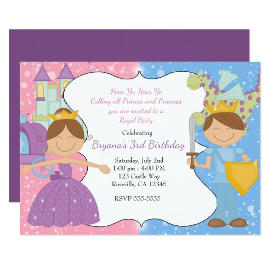 Princess & Prince Castle Royal Party Invitation