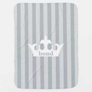 Princess Prince Crown Grey Striped Baby Blanket