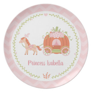 Princess Pumpkin Carriage Girl Personalized Plate