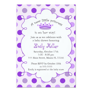 Princess Purple Baby Girl Shower Invitation