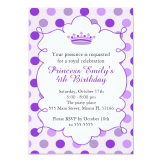 Princess Purple Birthday Party Invititation 13 Cm X 18 Cm Invitation Card