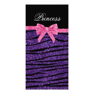 Princess purple glitter zebra stripes pink bow custom photo card