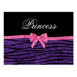 Princess purple glitter zebra stripes pink bow postcard