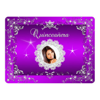 Princess Purple Magenta Quinceanera Silver Tiara Card
