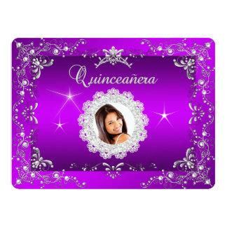 "Princess Purple Magenta Quinceanera Silver Tiara 6.5"" X 8.75"" Invitation Card"