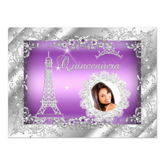 Princess Purple Quinceanera Silver Photo BIG 17 Cm X 22 Cm Invitation Card