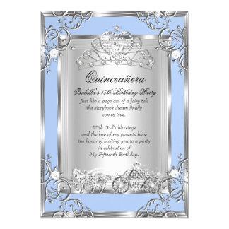 Princess Quinceanera 15th Birthday Blue Silver 13 Cm X 18 Cm Invitation Card