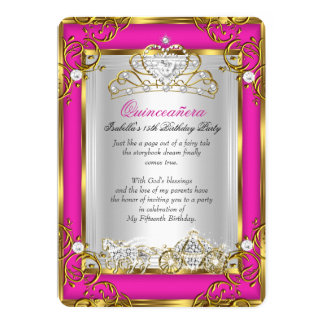 Princess Quinceanera 15th Birthday Pink Gold Card