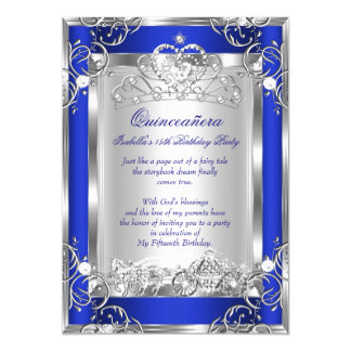 Princess Quinceanera 15th Party Deep Blue Silver 13 Cm X 18 Cm Invitation Card