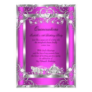 Princess Quinceanera 15th Party Pink Silver 13 Cm X 18 Cm Invitation Card