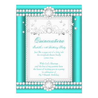 Princess Quinceanera Jade Teal Diamond Tiara 17 Cm X 22 Cm Invitation Card
