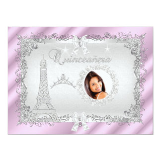Princess Quinceanera Magical Pink Silver Photo 17 Cm X 22 Cm Invitation Card