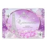 Princess Quinceanera Magical Purple Silver Invites