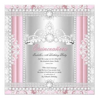 Princess Quinceanera Party Diamond Pink Tiara 13 Cm X 13 Cm Square Invitation Card