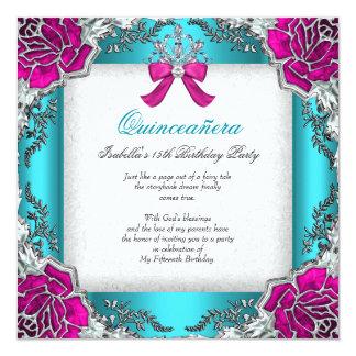 Princess Quinceanera Pink Aqua Teal 15th Birthday 13 Cm X 13 Cm Square Invitation Card