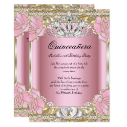 15th birthday invitations announcements zazzle princess quinceanera pink gold 15th birthday party card filmwisefo Image collections