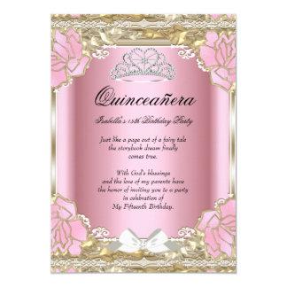 Princess Quinceanera Pink Gold 15th Birthday Tiara 13 Cm X 18 Cm Invitation Card