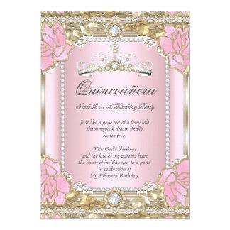 Princess Quinceanera Pink Gold Diamond Tiara 13 Cm X 18 Cm Invitation Card