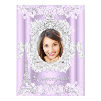 Princess Quinceanera Purple Lace Photo Large Card