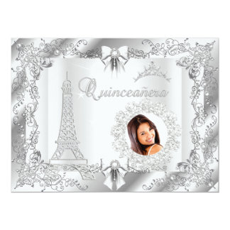 Princess Quinceanera White Silver Photo BIG 17 Cm X 22 Cm Invitation Card