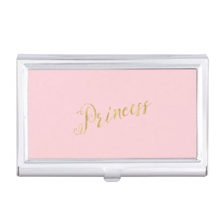 Princess Quote Faux Gold Foil Glitter Background Business Card Holder