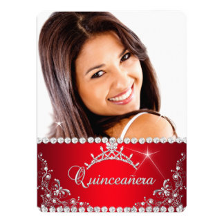Princess Red Quinceanera Photo Silver Tiara 17 Cm X 22 Cm Invitation Card