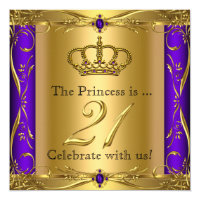 Princess Regal Purple Gold 21st Birthday Party Card
