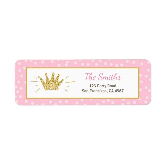 Princess Return Address Label Pink Gold Crown Girl