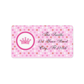 Princess Return Address Labels Pink