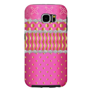 Princess Rhinestone Pearly Hot Pink Bejeweled Samsung Galaxy S6 Cases