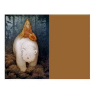 Princess Riding King Polar Bear Postcard