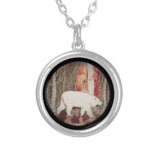 Princess Riding King Polar Bear Round Pendant Necklace