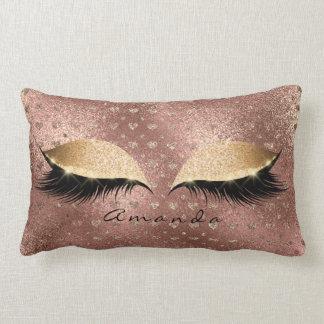 Princess Rose Gold Glitter Lashes Name Hearts Lumbar Pillow