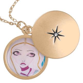 princess round locket necklace
