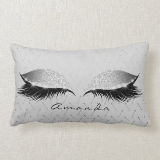 Princess Silver Gray Glitter Black Makeup Name Lumbar Cushion
