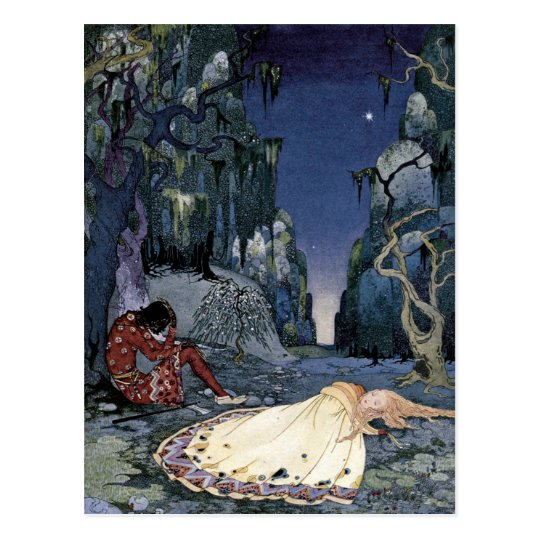 Princess Sleeping in Forest Postcard
