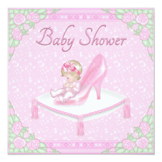 Princess Slipper, Baby and Roses Pink Baby Shower Announcement