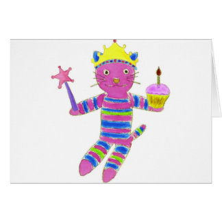 Princess Sock Kitty Cupcake Greeting Card