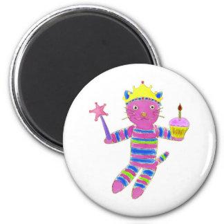 Princess Sock Kitty Cupcake 6 Cm Round Magnet