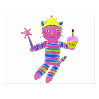 Princess Sock Kitty Cupcake Postcard