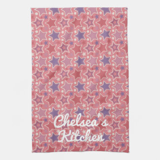Princess Stars Pink Personalized Tea Towel