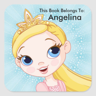 Princess Sticker, This Book Belongs To, Book Label Square Sticker