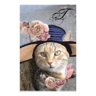 PRINCESS TATUS /ELEGANT CAT,BIG DIVA HAT AND ROSE STATIONERY DESIGN