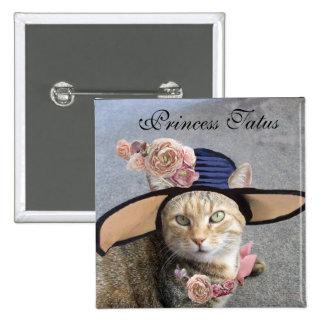 PRINCESS TATUS /ELEGANT CAT,BIG DIVA HAT AND ROSES 15 CM SQUARE BADGE