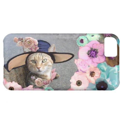 PRINCESS TATUS ELEGANT CAT,BIG DIVA HAT AND ROSES CASE FOR iPhone 5C