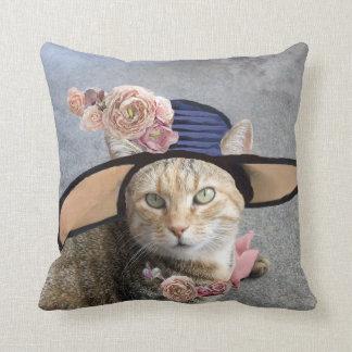 PRINCESS TATUS /ELEGANT CAT,BIG DIVA HAT AND ROSES THROW CUSHIONS