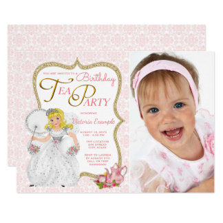 Princess Tea Party Birthday Party 13 Cm X 18 Cm Invitation Card