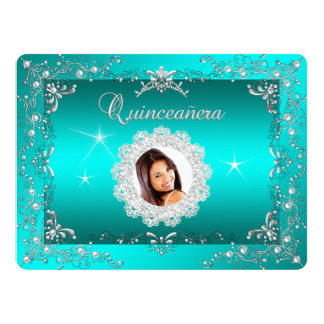 Princess Teal Blue Quinceanera Silver Birthday 6.5x8.75 Paper Invitation Card